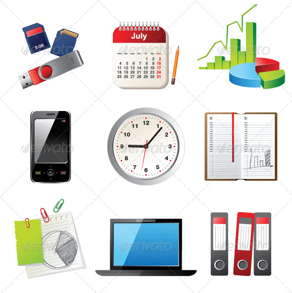 Office Icons - Objects Vectors