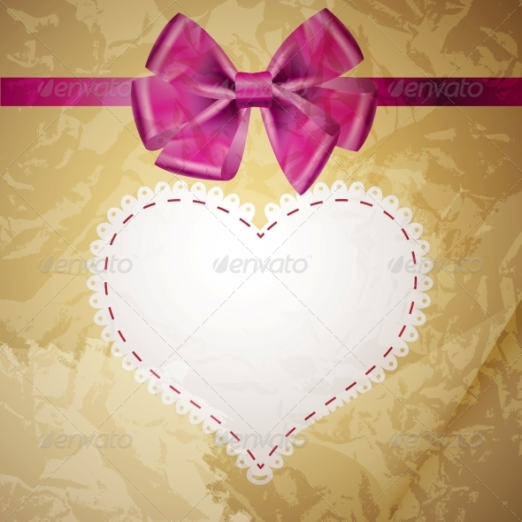 Beige Vintage Heart Frame with Glossy Bow - Miscellaneous Vectors