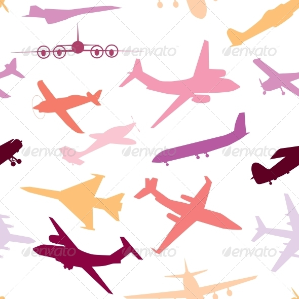 Aircraft, Airplane, Plane Flying Vector Seamless - Miscellaneous Vectors