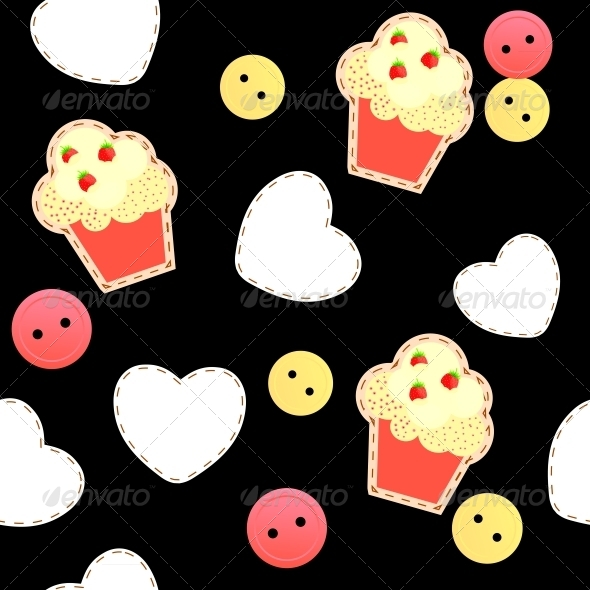Seamless Pattern with Cupcakes - Miscellaneous Vectors