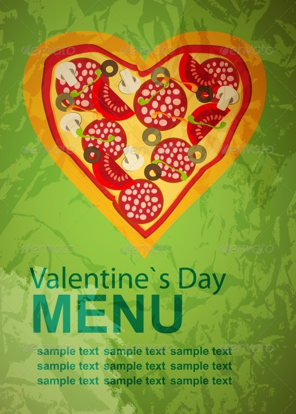 Pizza Menu Template on Valentines Day - Miscellaneous Vectors