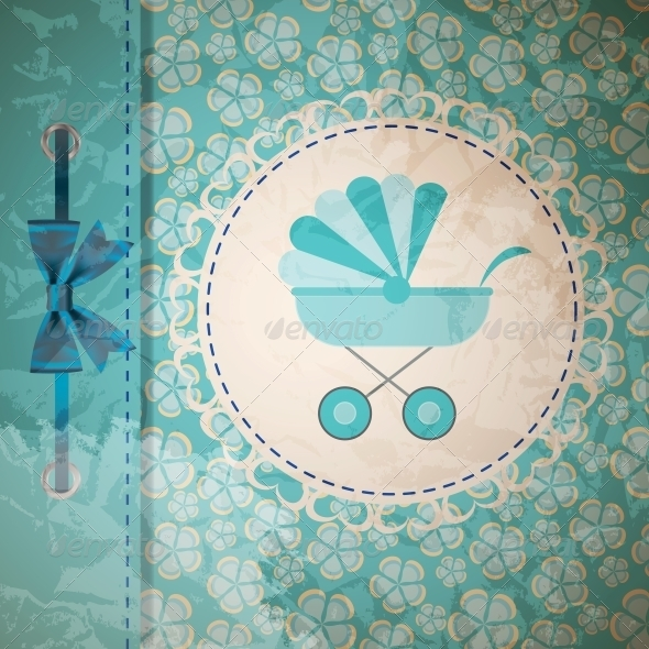 Vector Illustration of Blue Baby Carriage - Miscellaneous Vectors