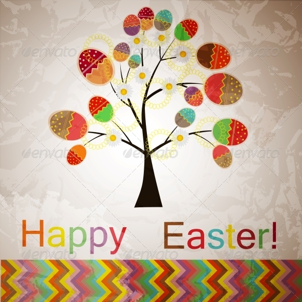 Vector Easter Tree with Eggs - Food Objects