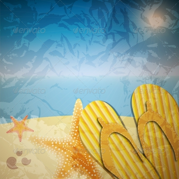Sandals and Starfish at Beach  - Miscellaneous Vectors
