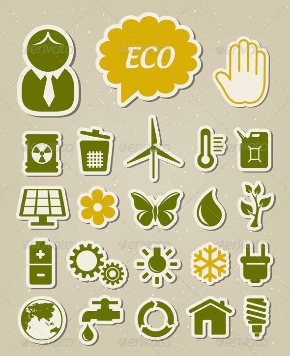 Ecology Icons Set - Industries Business