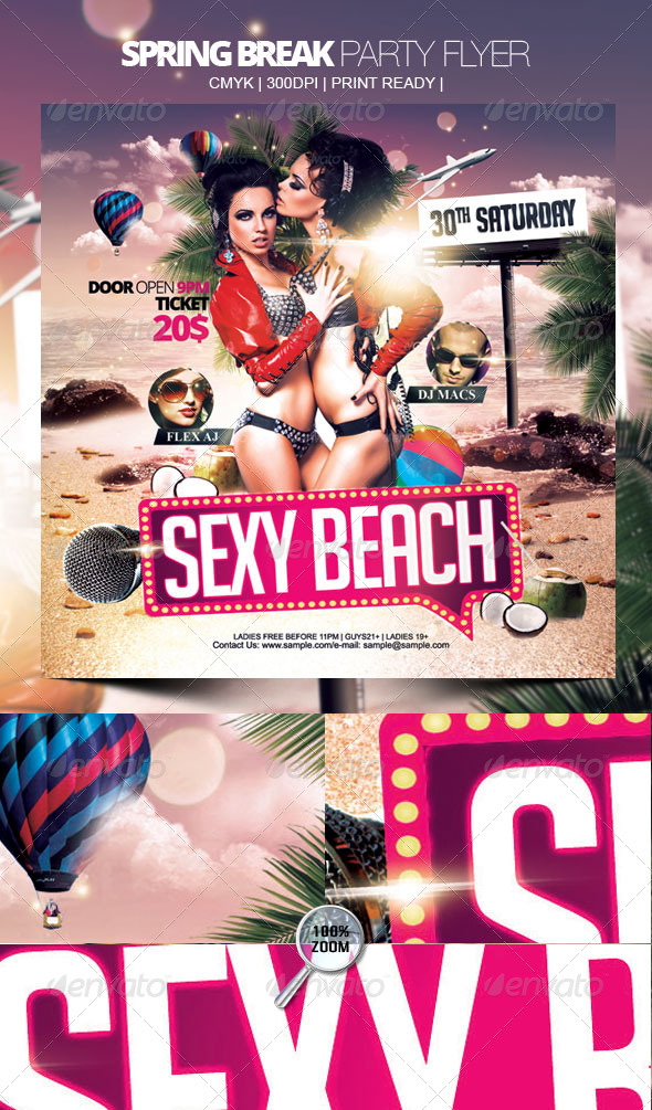 Sexy Beach Party Flyer - Clubs & Parties Events