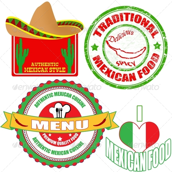 Set of Mexican Food Stamp and Labels - Food Objects