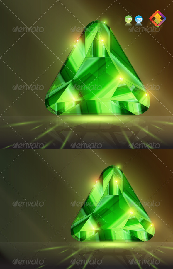 Triangular Stone Bead in Emerald Green - Man-made Objects Objects