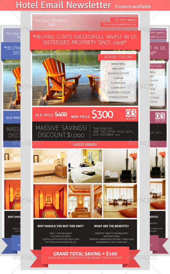 Hotel Email Newsletter - E-newsletters Web Elements