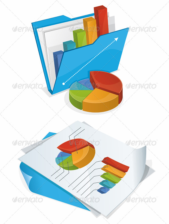 Folder and Papers with Charts - Concepts Business
