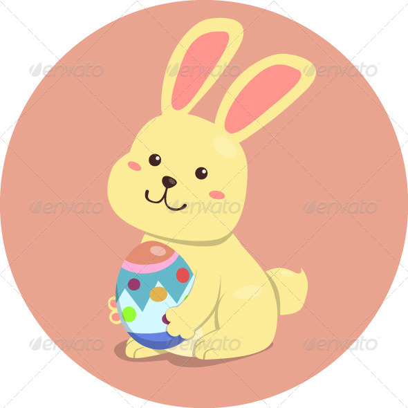 Easter Rabbit Holding Egg - Animals Characters