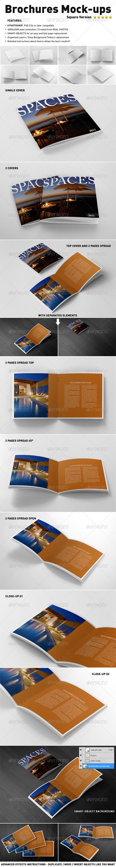 Photorealistic Square Brochure Mock-ups - Print Product Mock-Ups