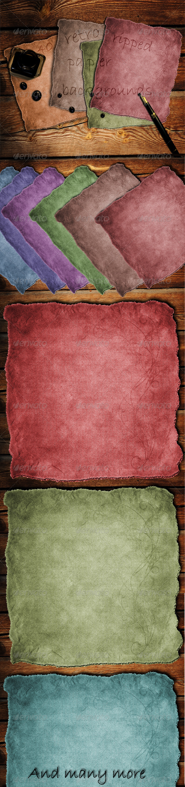 40 Retro Ripped Paper Backgrounds - Miscellaneous Backgrounds