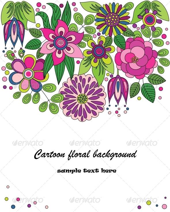 Cartoon Flower Illustration - Birthdays Seasons/Holidays