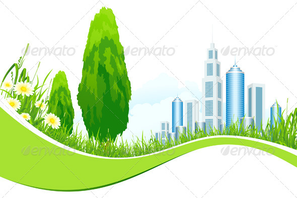 Background with City Line - Landscapes Nature