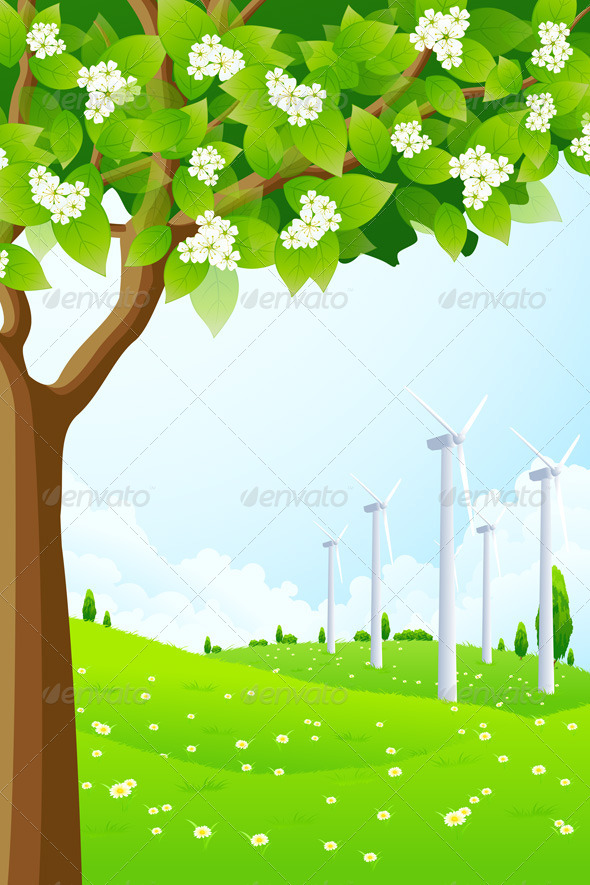 Green Landscape with Wind Power Plant - Landscapes Nature
