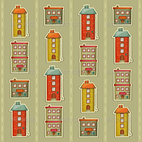 Town Background - Buildings Objects