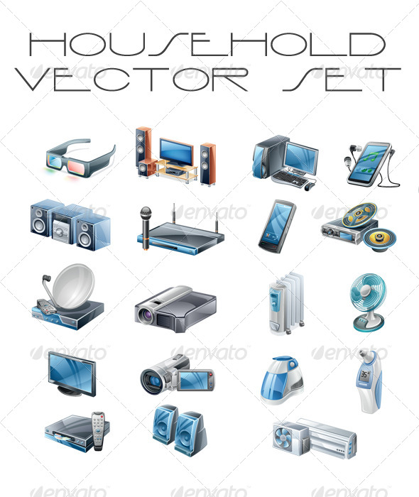 Vector Household Signs Set Tv Pc Sat Phone - Man-made Objects Objects