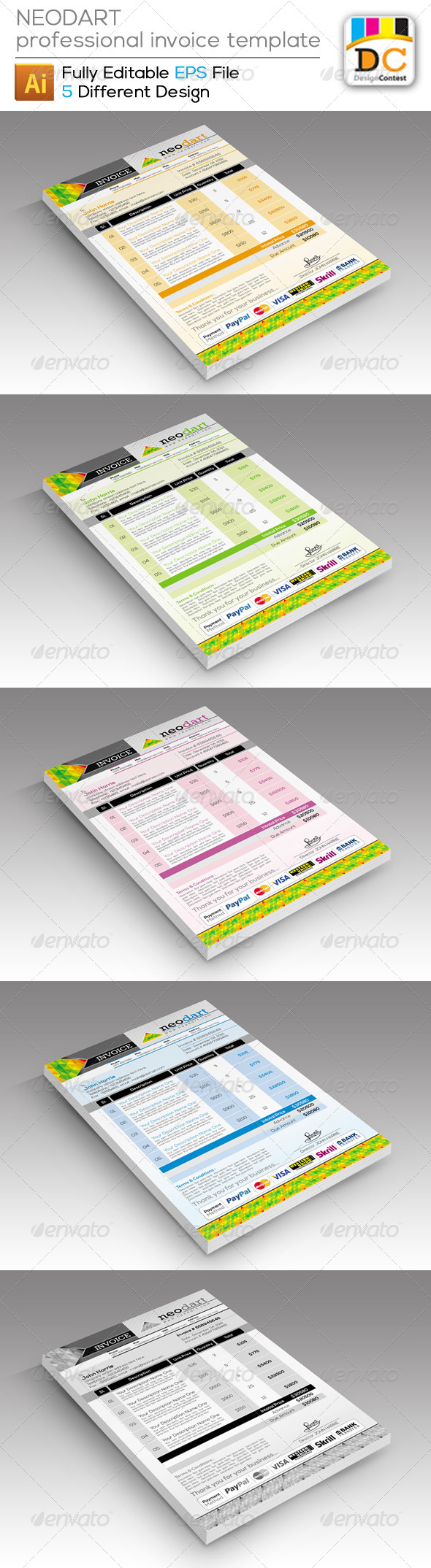 Invoices And Estimates Pro Neovertcorporate Creative Invoices By Contestdesign  Graphicriver Invoice Template Design Word with Labor Invoice Template Excel Neovertcorporate Creative Invoices  Proposals  Invoices Stationery Whats An Invoice Pdf