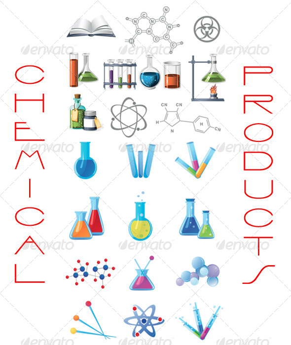 Vector Chemical Products Set Symbol - Man-made Objects Objects