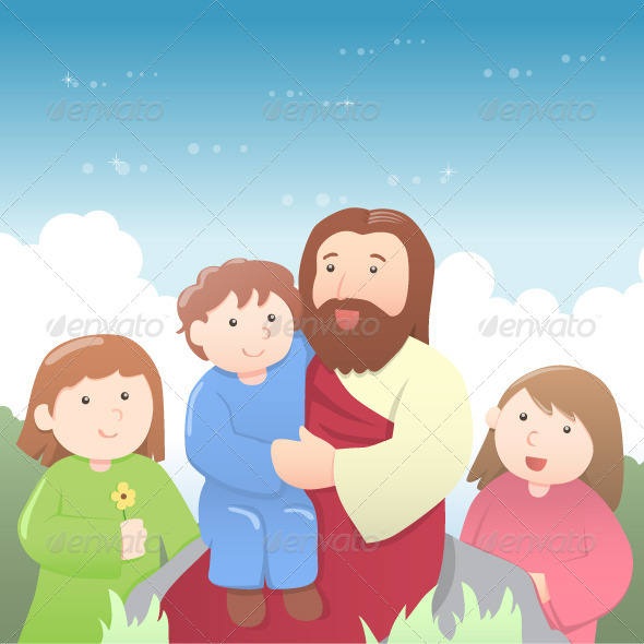 Jesus with Kids Cartoon - Religion Conceptual