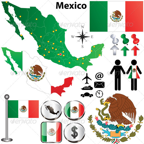 Mexico Map with Regions - Travel Conceptual