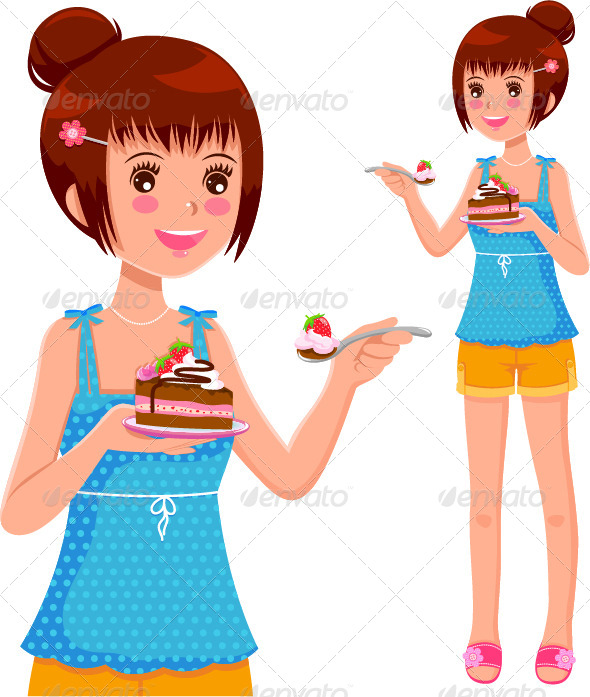 Girl Eating Cake - People Characters