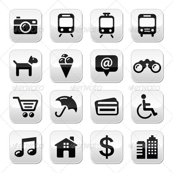 Travel Tourism and Transport Buttons Set - Travel Conceptual