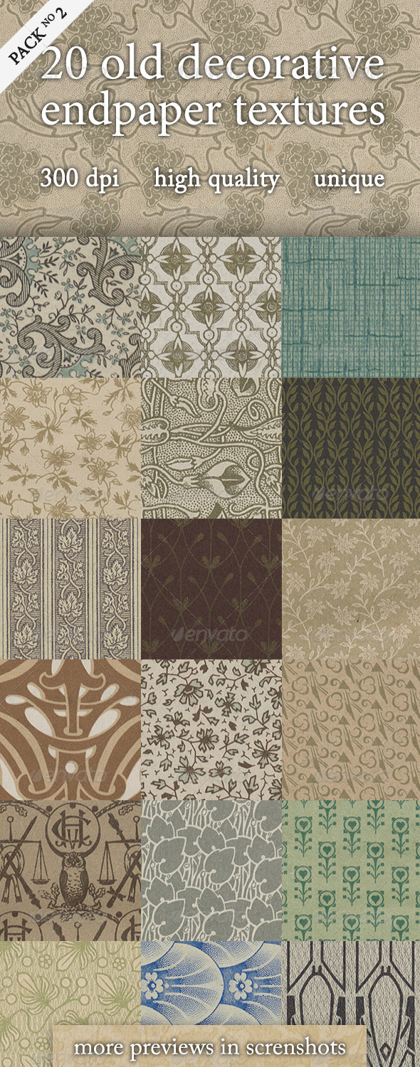 20 Old Decorative Endpaper Textures Pack 2 - Paper Textures