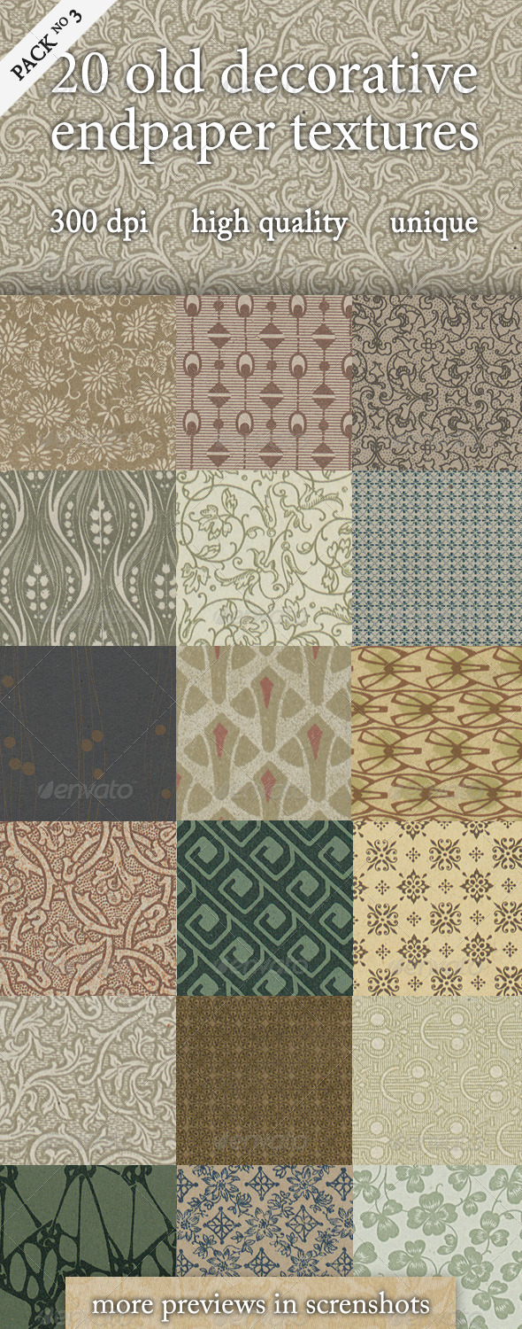 20 Old Decorative Endpaper Textures Pack 3 - Paper Textures