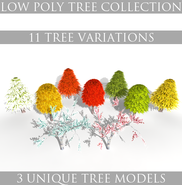 Low Poly Tree Collection - 3DOcean Item for Sale