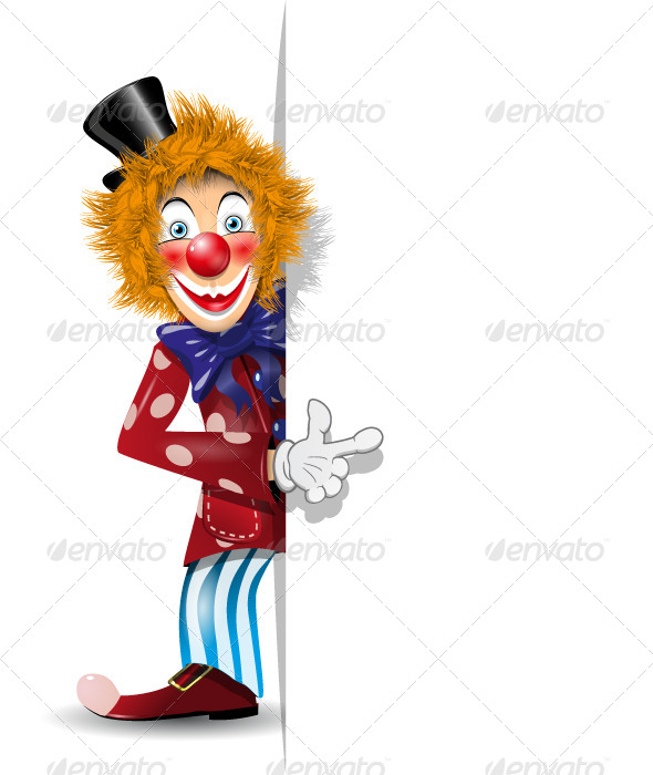 Cheerful Clown and White Background - People Characters