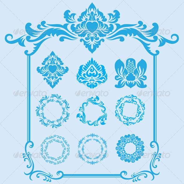 Blue Frame Ornament - Borders Decorative