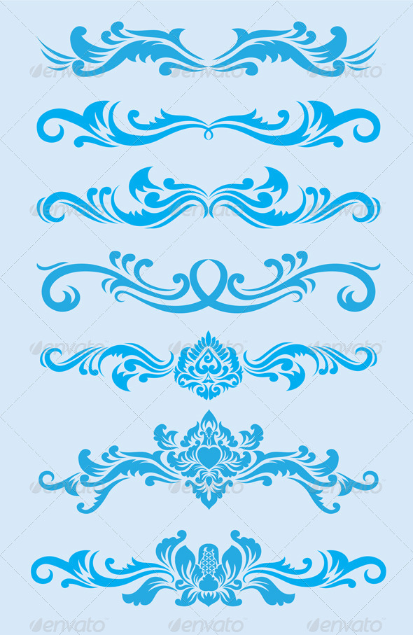 Blue Ornament Set - Flourishes / Swirls Decorative