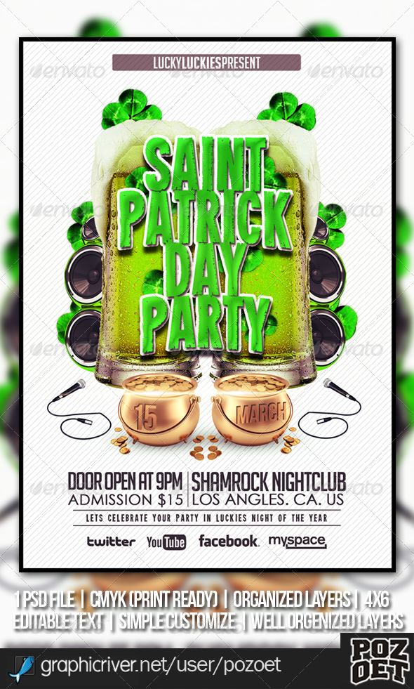 Saint Patrick's Flyer Template - Clubs & Parties Events
