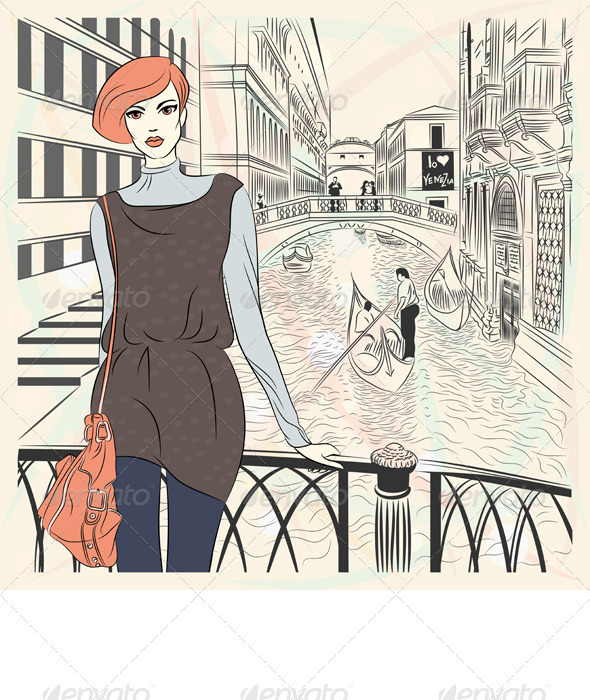 Vector Fashion Girl on a Venice Background - People Characters