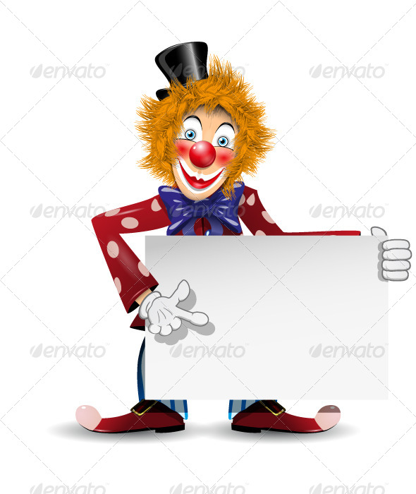 Cheerful Clown with Card - People Characters