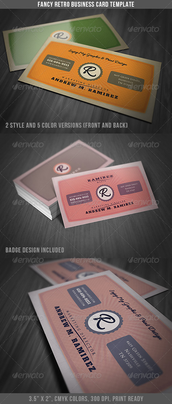 Fancy Retro Business Card by DiscoverIt | GraphicRiver
