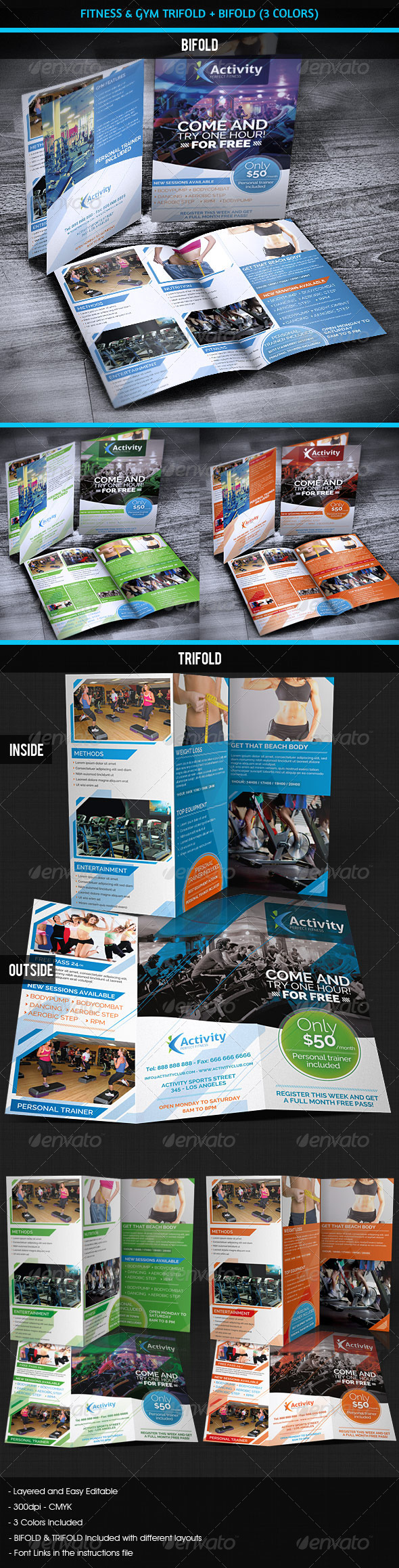 Fitness & Gym - Sports Bifold + Trifold - Brochures Print Templates