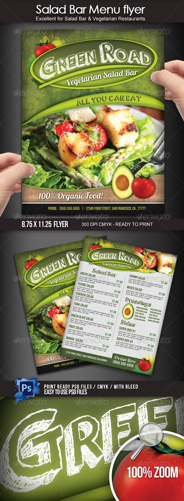 Salad Bar Menu Flyer - Restaurant Flyers