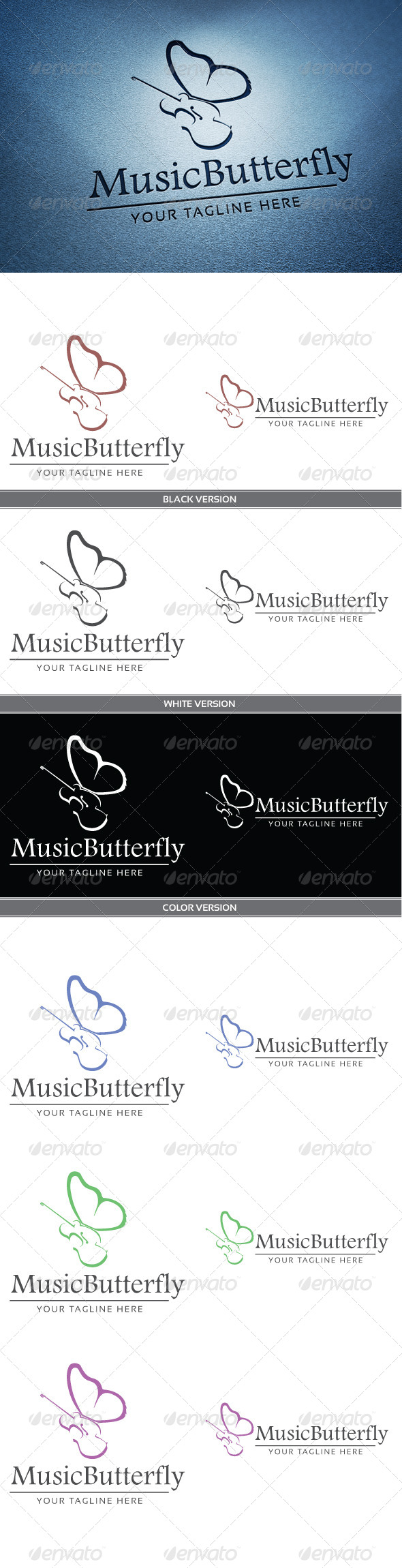 Music butterfly - Abstract Logo Templates
