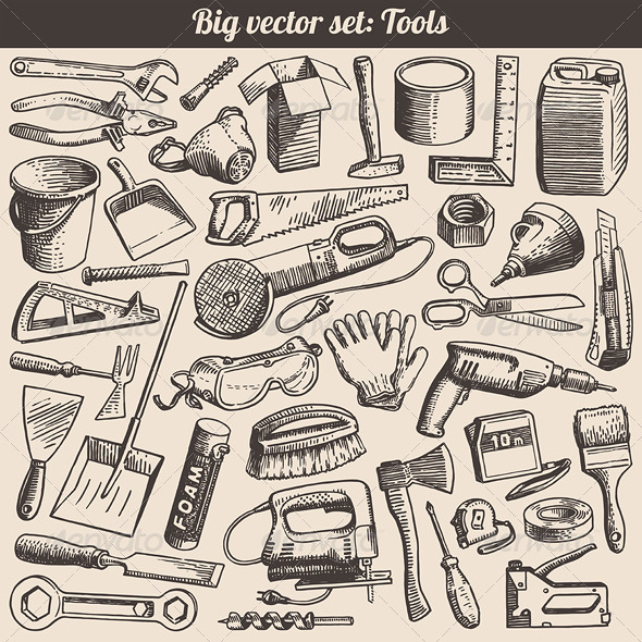 Vector Doodles Collection of Working Tools - Industries Business