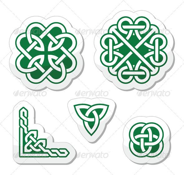 Celtic Green Knots Patterns - Vector - Religion Conceptual