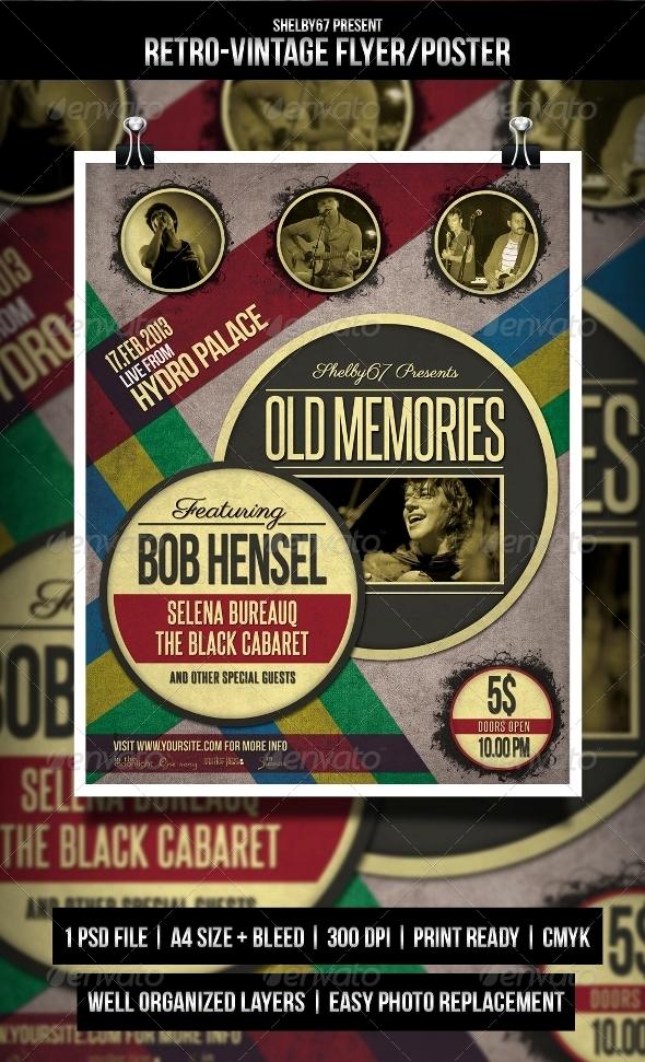Retro Vintage Flyer / Poster - Concerts Events