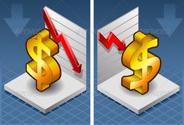 Isometric Symbol of Dollar with Red Arrow Down - Conceptual Vectors