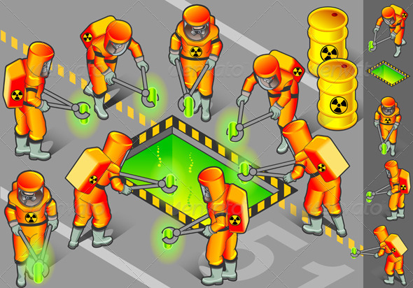 Isometric Nuclear Area with Mans at Work - Conceptual Vectors