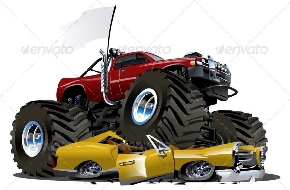 Vector Cartoon Monster Truck - Man-made Objects Objects