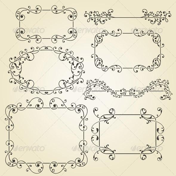 Lacy Vintage Floral Elements - Borders Decorative