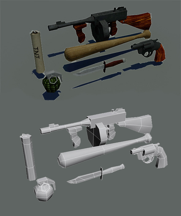 Lowpoly gameready weapons pack 1930s - 3DOcean Item for Sale