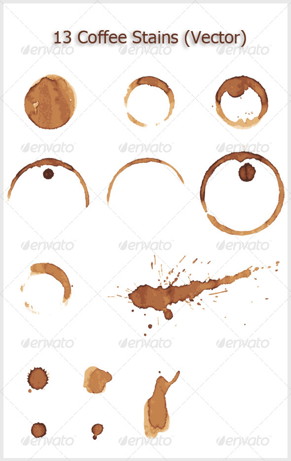 13 Coffee Stains - Decorative Vectors